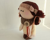 Rag doll handmade baby games Cloth doll doll handmade doll art textile doll rag doll doll doll doll collection interior red hair jeans