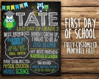 LAST DAY of SCHOOL Chalkboard with Owls! - Quick Turnaround!
