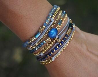 Blue mix Wrap bracelet, Boho Wrap Bracelet, Beadwork bracelet