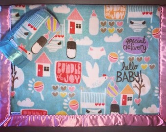 Minky and Satin Baby Blanket ~ Special Delivery Silky Baby Blankets, Minky Blanket, Silky Blanket