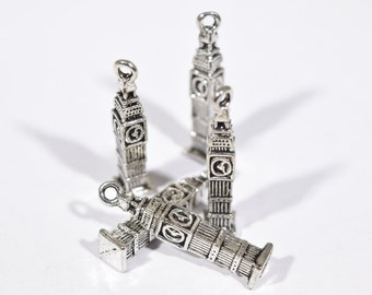 8 Big Ben charms | silver tourist charms | London charms | jewelry supplies | earring charms | architectural charm | building charms | SC315