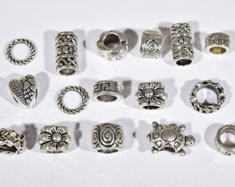 16 Silver beads | silver spacer collection | jewelry beads | spacer beads | silver spacers | European beads | SC881