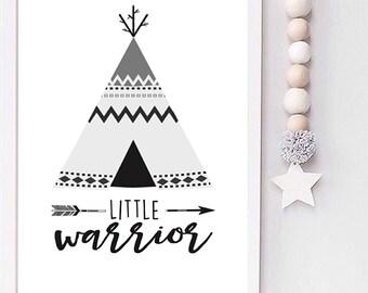 Little Warrior Monochrome tribal teepee print