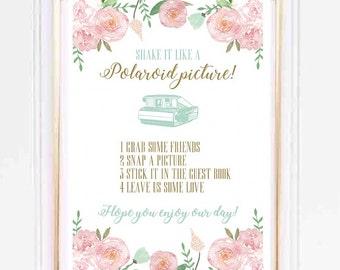 A4 Polaroid Wedding Guestbook Floral Print