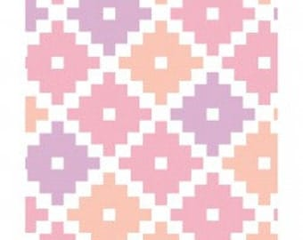 Cotton Fabric-Modern Quilting Fabric-Fabric for Girls-Southwestern Flair-Coral-Pink-Lavender-Emilia-Pastel