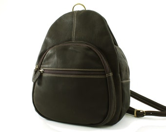 Dark Brown Leather Backpack / Rucksack / Carry Bag