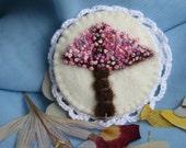Spring tree - felt brooch - ready to ship - French knot - romantic