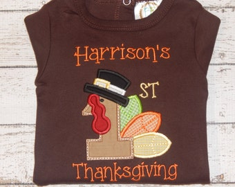 Boys fall shirt; Boys Turkey shirt; Boys Thanksgiving shirt; Baby boy Thanksgiving; Boy's First Thanksgiving; SHIPS 3-5 days
