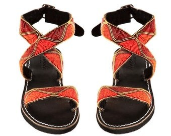 Handmade sandals sunset beads shoes