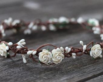 Ivory Cream Flower Crown - Ivory Floral Crown - Wedding Headpiece - White Wedding Hair Crown - Flower Headband - Maternity Rose Crown - Halo