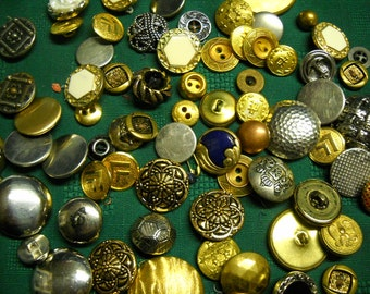 "72 Metal Buttons Most Vintage Many Styles 1/2"" to 2"""
