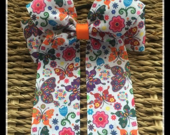 4 Loop Cheer Bow, Multi coloured Butterfly  Printed Ribbon, Ponytail Hairband