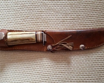 Vintage 1970's Hunting Knife with Leather Scabbard