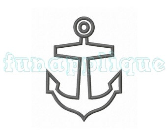 anchor Applique design for Machine Embroidery instant download 3 sizes