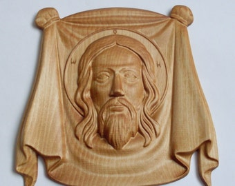 Wooden Carved Holy Face, Jesus Christ