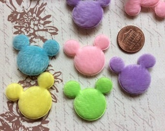 LAST SET of 20 Bright and Colorful Furry Felt Padded Mouse Heads Appliques/Mickey/Minnie