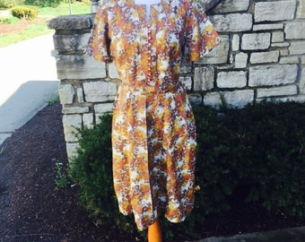 FREE SHIPPING! 1950's/1960's Brown and Orange Day Dress with Rhinestone Buttons size  large/xl