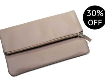SALE - Ingleborough Heather leather fold over clutch bag