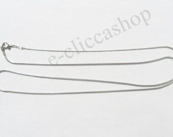 Brass necklace silver color 62 cm