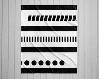 Black and white geometric tribal modern  throw blanket with white back