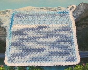 Upcycle hand crochet double thick hot pad UHP 004