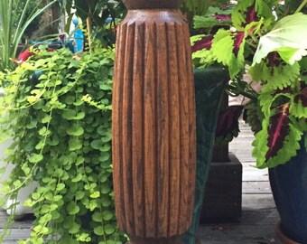 Vintage Wooden Flower Stand / Vintage  Oak Flower Stand / Tall Wooden Candle Holder / Solid Wood Carved Stand