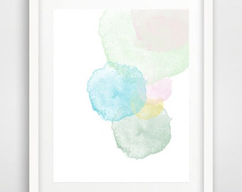 Pastel circles art, circles print, wall art prints, printable art, watercolor print, watercolor brushes, circles print, nursery art