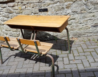 Vintage French Double School Desk