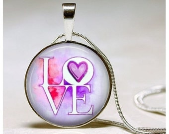 Love Pendant -Valentine Necklace -  Girlfriend Gift - Valentine Jewelry - Valentine's Day Gift for daughter, mother, sister, wife