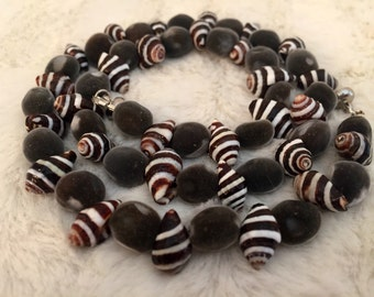 Velvet RARE Hawaiian Seeds/ White and Black-Brown Shells / Exotic Mgambo Seeds/ Necklace and bracelet set/ FREE EARRINGS