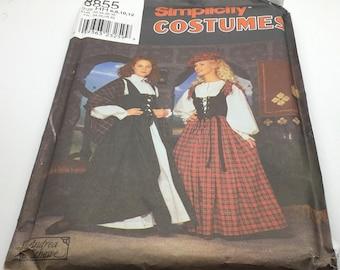 Simplicity Sewing Pattern Costume  7756 Rennaisance Dress Blouse Veil Hat Underskirt  Reenacting Play Costume Theatre Size 10 12 14
