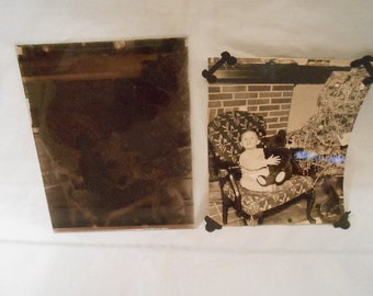 Original Glass Photo Negative Little Boy Christmas Teddy Bear
