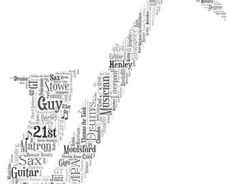 Personalised Word Art / Word Cloud - Saxophone - Digital JPEG