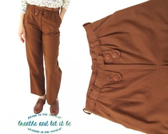 CLEARANCE! Vintage Chestnut Ornamental Button Pants | Size S M | 70s Brown Wool Pants | breathe and let it be