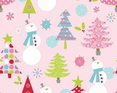Christmas Basics from Riley Blake Designs  > Christmas Trees and Snowman C890-01 PINK < Fabric by the Half Yard