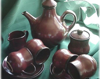 Sundo, Brown Glazed Stoneware Coffee Set for Four, 1970's