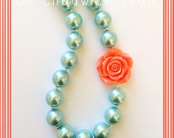 Turquoise Pearl and Coral Rose Chunky Bead Necklace
