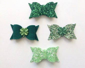 St. Patrick's Day Chunky Hair Bow Set of Four