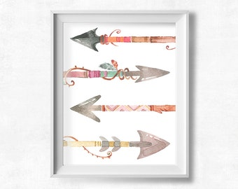 Nursery Wall Art, Watercolor Arrows Printable, Cottage Chic Arrow Print, Girl's Bedroom Decor, Pretty Plus Paper, 8x10 Instant Download