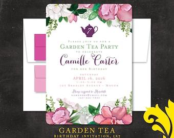 GARDEN TEA . birthday invitation