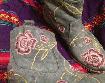 Sale Vintage womans sz 38 (8 US) Italian Albertobressan leather floral boots