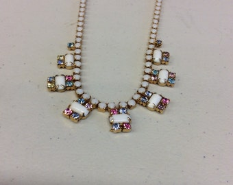 Opal like and rhinestone beaded necklace.