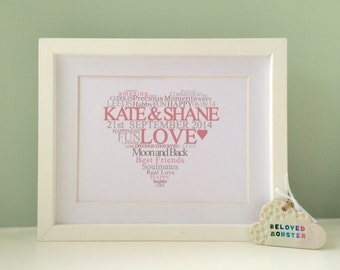 LOVE HEART Personalised Word Art Print - Wedding / Anniversary (inc p&p)