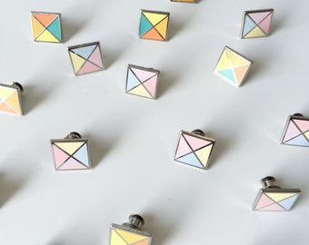 SALE / Set of 2 Stud enamel pins / colourful geometric enamel pins /  cute hard enamel pin / geometric / autumn pin / 15 mm pin