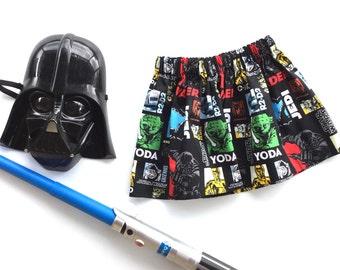 Star wars colourful handmade girl's skirt, gathered elastic waist, fun and funky!