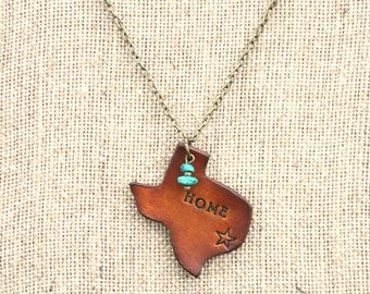 """Leather """"Home"""" Texas Necklace With American Turquoise, Southwestern, Western, Bohemian Handcrafted Womens and Girls Jewelry"""