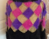 Designer black multicolour 100 angora sweater with purplepink  gold squares