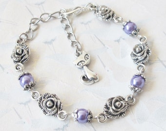Cat bracelet in silvery metal and purple pearl, pink, blue, jewelry, cat jewelry, gift for child, gift for her, purple jewelry, bracelet