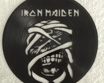 "Iron Maiden vinyl record wall art - upcycled from an original 12"" vinyl record"