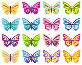 Butterfly Clip Art, Digital Butterflies Clipart, Colorful Butterflies Clipart, Scrapbook Butterfly, Colorful Butterfly, Butterfly Printable